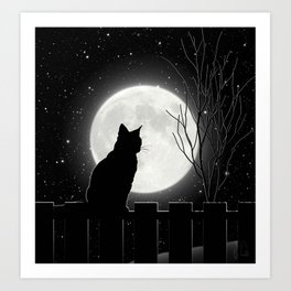 Silent Night Cat and full moon Art Print