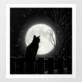Silent Night Cat and full moon Art Print