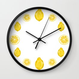 Whole Lemons and Slices - Teal Blue Wall Clock