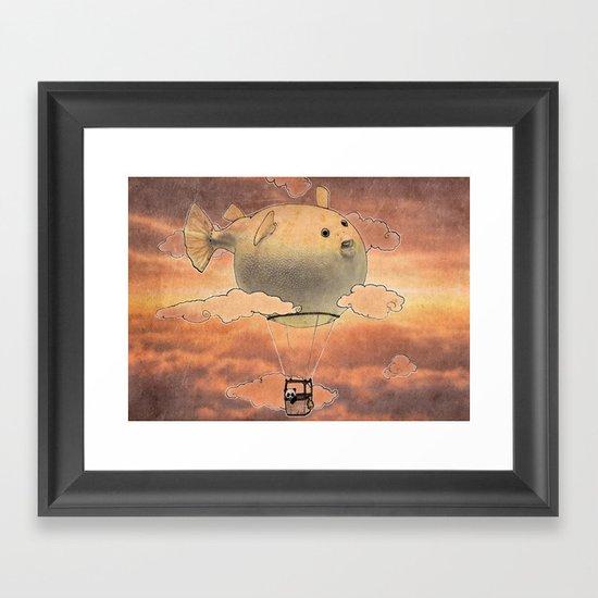 Panda fliying in a Blow fish 2 Framed Art Print