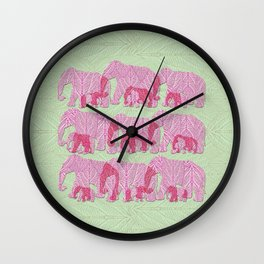 Pink Elephant Family Wall Clock