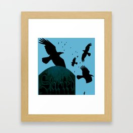 Sacred Gothic Text Gravestone With Crows and Ravens Framed Art Print