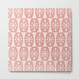 Mid Century Modern Atomic Fusion Pattern 334 Dusty Rose and Beige Metal Print