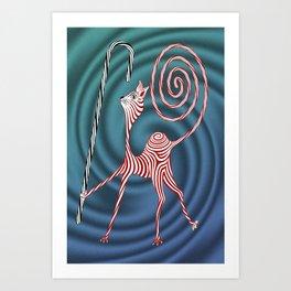 Peppermint Kitty Cane Art Print