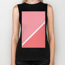 Modern minimalist geometric pink coral color block Biker Tank