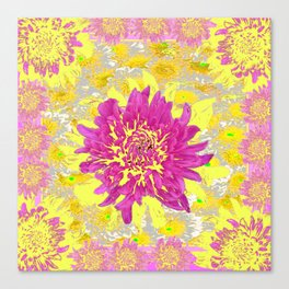 Abstracted Pink & Yellow Chrysanthemums Floral Canvas Print