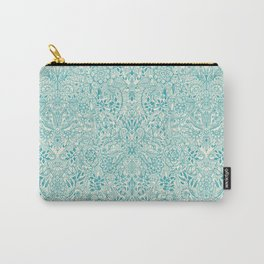 Detailed Floral Pattern in Teal and Cream Carry-All Pouch