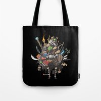 skyrim Tote Bags featuring Let me guess, someone stole your sweetroll by Fightstacy