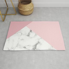 White marble and pink geometric design Rug