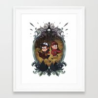 gravity falls Framed Art Prints featuring Gravity Falls by Vaahlkult