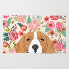 Beagle florals cute spring pet portrait dog lover gift idea beagle owners must haves flower power Rug