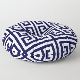 Greek Key Patten White And Navy Blue Floor Pillow