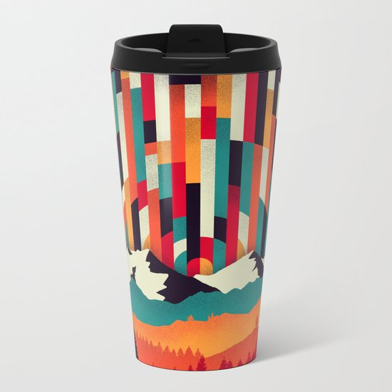 Sunset in Vertical Multicolor Metal Travel Mug