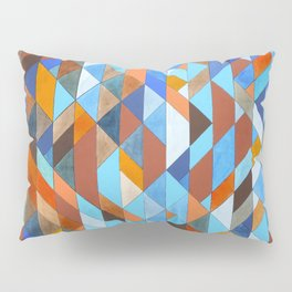 Triangle Pattern no.18 blue and orange Pillow Sham