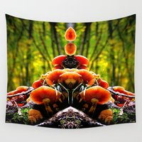 mushrooms Wall Tapestries featuring mushrooms by haroulita