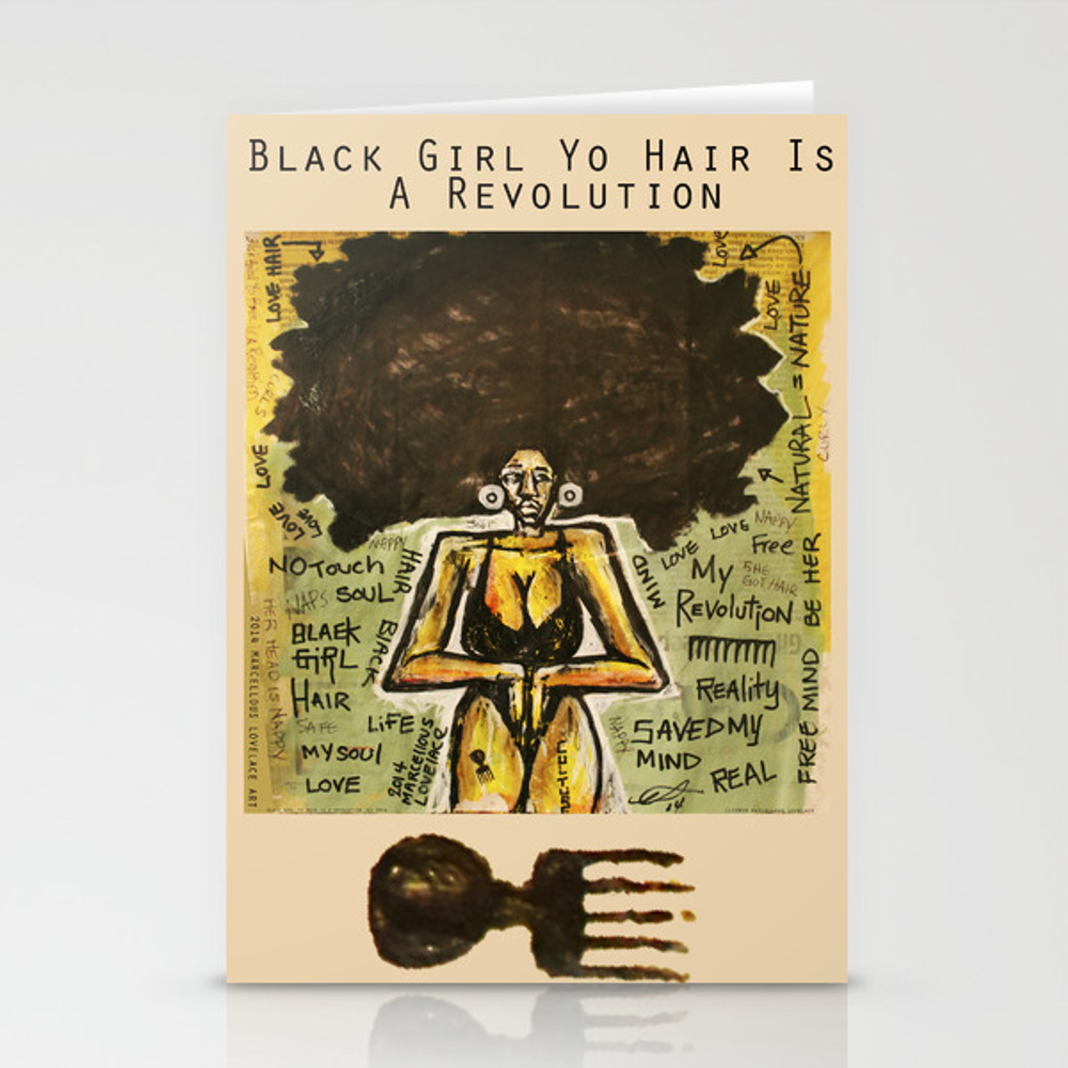 2014 Black Girl Yo Hair Is A Revolution art by Marcellous Lovelace  Stationery Cards by marcellouslovelace
