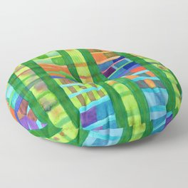 Colored Fields With Bamboo Floor Pillow