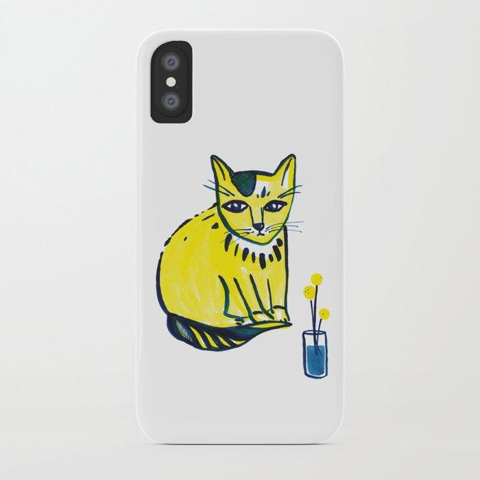 Yellow Cat with Craspedia iPhone Case