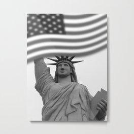 Black and White Statue of Liberty - Liberty Island Metal Print