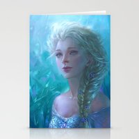frozen elsa Stationery Cards featuring Frozen Elsa by hart-coco