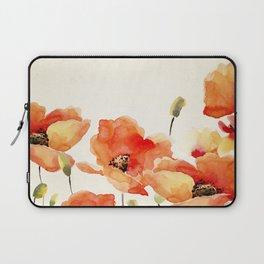 Poppy Flower Meadow- Floral Summer lllustration Laptop Sleeve