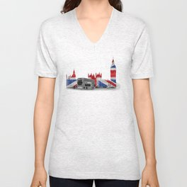 Big Ben, London Bus and Union Jack Flag Unisex V-Neck