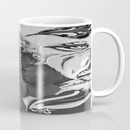Black and White of Birthday Acrylic Blue Orange Hibiscus Flower Painting with Red and Green Leaves Coffee Mug
