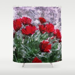 African Daisies Red With Wall Watercolor Shower Curtain