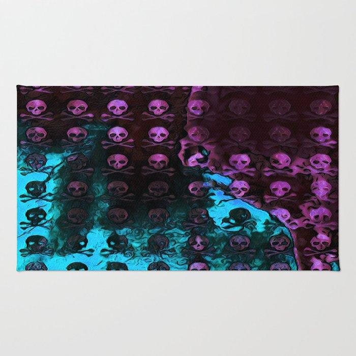 Deaths Frozen Blanket Skulls: Pink And Blue Rug