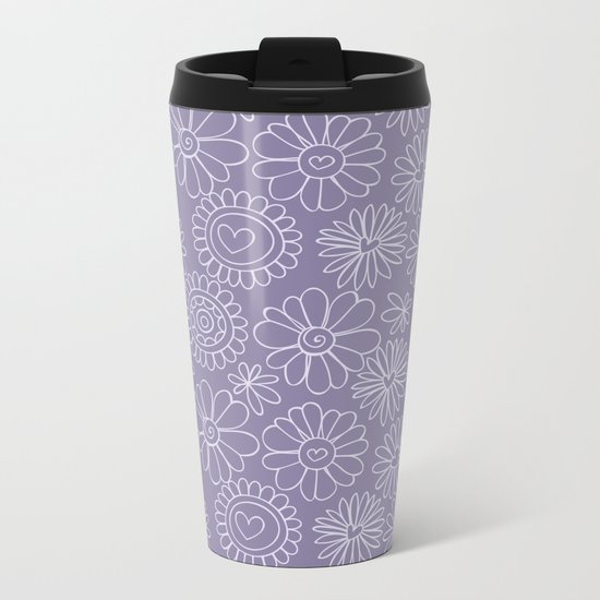 Violet doodle floral pattern Metal Travel Mug