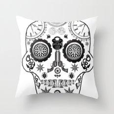 Steampunk Sugar Skull Throw Pillow
