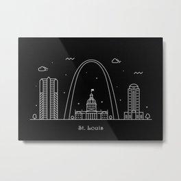 St. Louis Minimal Nightscape / Skyline Drawing Metal Print