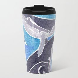 Polynesian humpback whale and calf Travel Mug