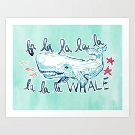 FA LA LA WHALE Coastal Holiday Print Art Print