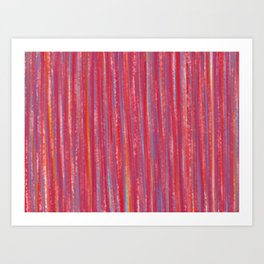 Stripes  - Candy pink red orange and blue Art Print