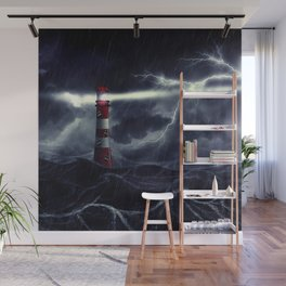 Stormy Sea and Lighthouse Wall Mural