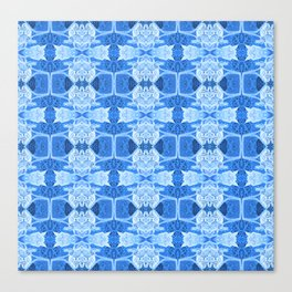 Intricate Contemporary Blue Floral Pattern Canvas Print