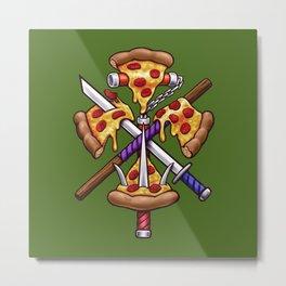 Ninja Pizza Metal Print