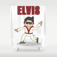 elvis Shower Curtains featuring Elvis! by Lalu - Laura Vargas