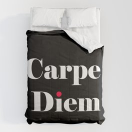 carpe diem red black Comforters
