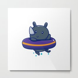 Cute Rhino With Swim Ring Icon Illustration Animal Summer Icon Concept Isolated Flat Cartoon Style Metal Print