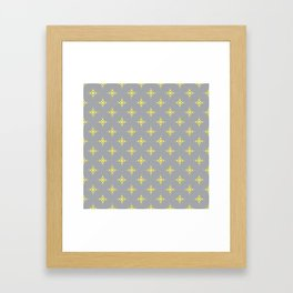 Ornamental Pattern with Grey and Lemon Yellow Colourway Framed Art Print
