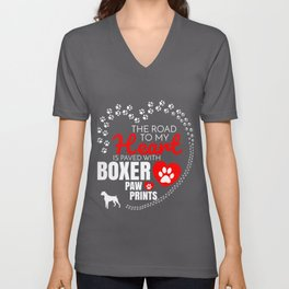 The Road To My Heart Is Paved With Boxer Paw Prints Unisex V-Neck