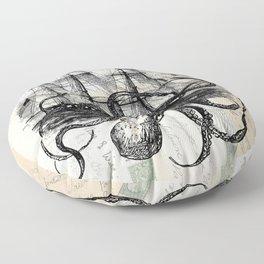 Octopus Kraken Attacking Ship on Old Postcards Floor Pillow