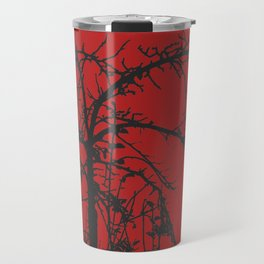Creepy tree silhouette, black on red Travel Mug