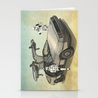 anaconda Stationery Cards featuring Lost, searching for the DeathStarr _ 2 Stormtrooopers in a DeLorean  by Vin Zzep