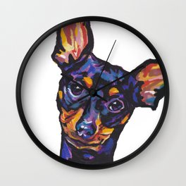 Miniature Pinscher Dog Portrait bright colorful Fun Pop Art Dog Painting by LEA Wall Clock