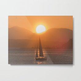 Sail under the Sun Salish Sea Metal Print