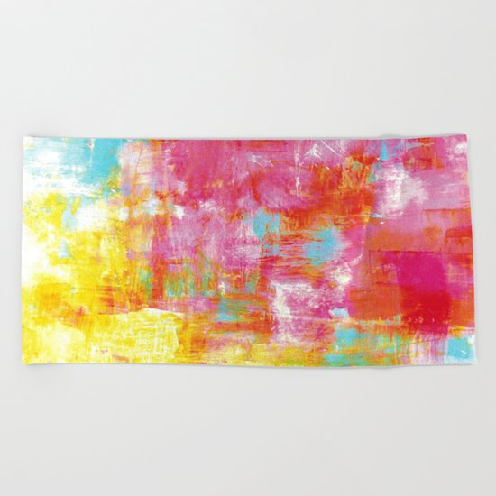 OFF THE GRID 2 Colorful Pink Pastel Neon Abstract Watercolor Acrylic Textural Art Painting Rainbow Beach Towel