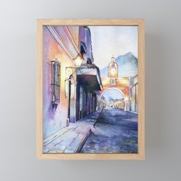 Painting of the Arch of Santa Catalina in city of Antigua, Guatemal Framed Mini Art Print